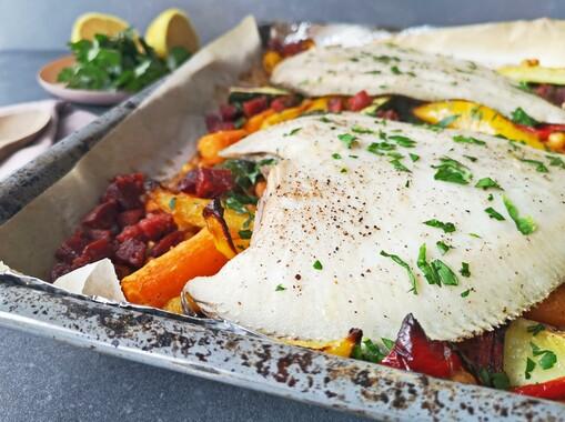 Griet en geroosterde groenten uit de oven